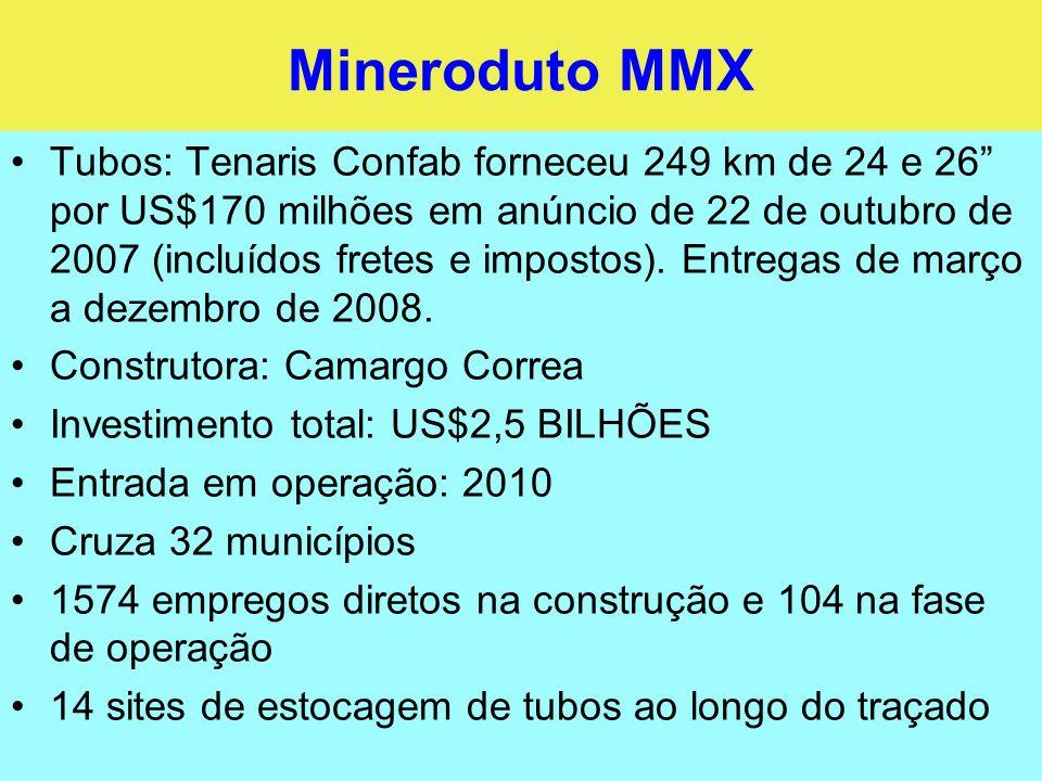 Gasoduto Vale do Aço Extensão: 330 km Diâmetros: 16 e 18 Pressão de operação máxima: 38 bar Investimento: R$520 milhões para o trecho de 280 km a construir Operação em dezembro de 2009