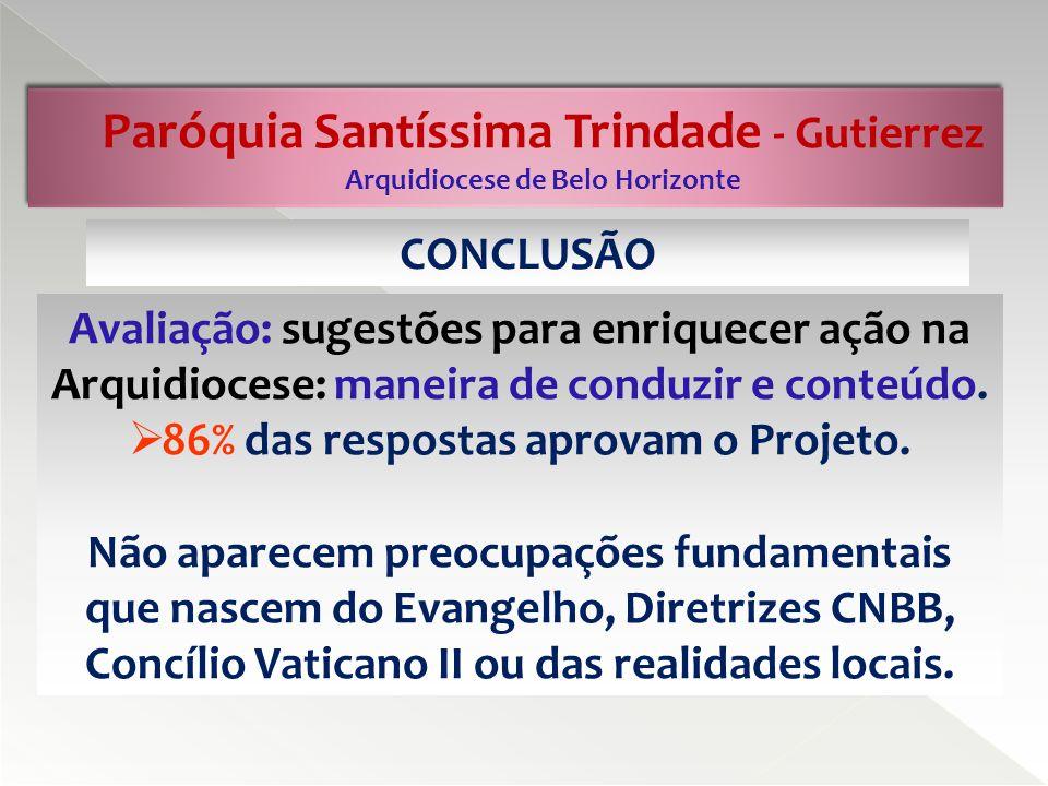 Paróquia Santíssima Trindade - Gutierrez Arquidiocese de Belo Horizonte A partir dos dados apresentados nos nn.