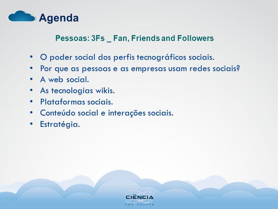 Agenda O poder social dos perfis tecnográficos sociais. Por que as pessoas e as empresas usam redes sociais? A web social. As tecnologias wikis. Plata