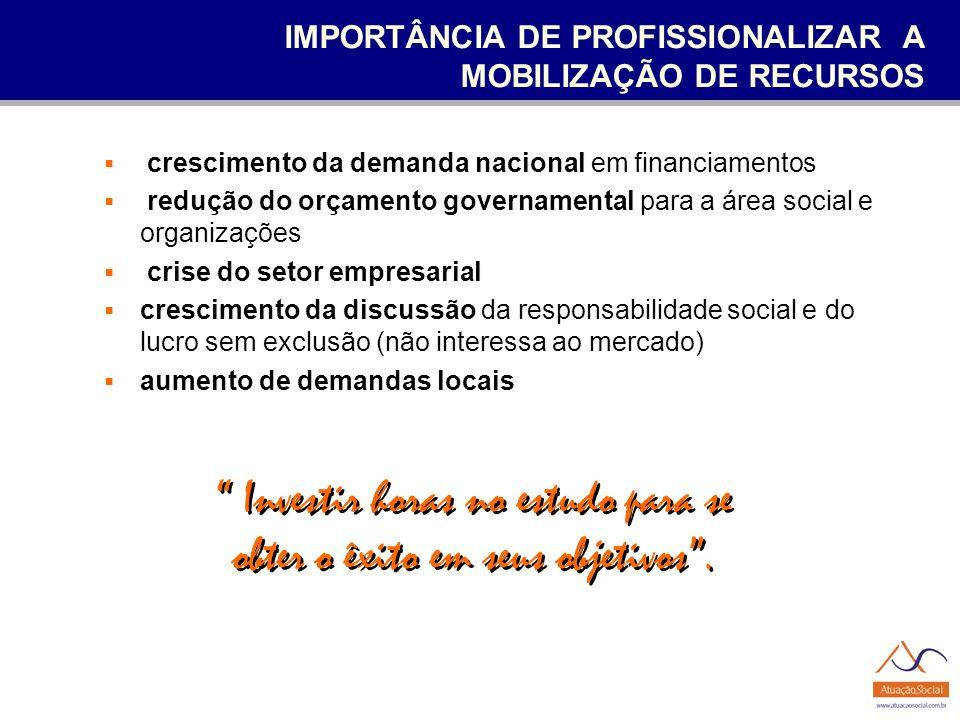 IMPORTÂNCIA DE PROFISSIONALIZAR A MOBILIZAÇÃO DE RECURSOS crescimento da demanda nacional em financiamentos redução do orçamento governamental para a