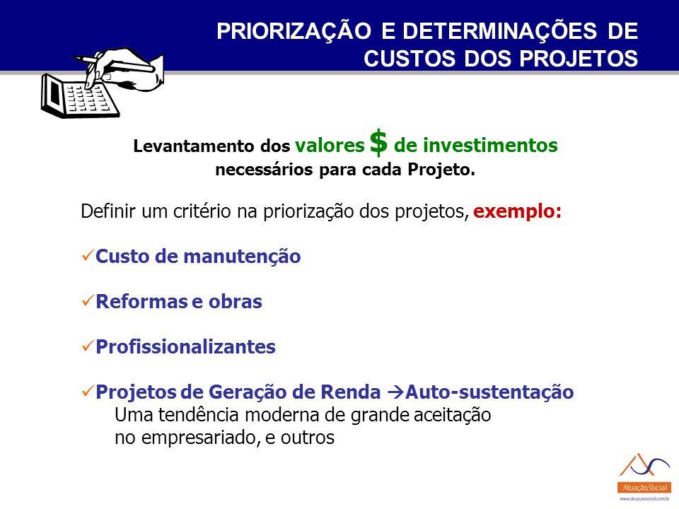 PRIORIZAÇÃO E DETERMINAÇÕES DE CUSTOS DOS PROJETOS Levantamento dos valores $ de investimentos necessários para cada Projeto. Definir um critério na p