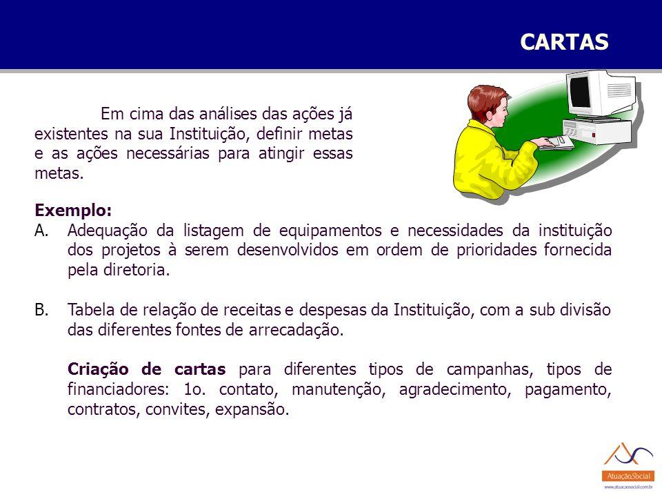 CARTAS Exemplo: A.Adequação da listagem de equipamentos e necessidades da instituição dos projetos à serem desenvolvidos em ordem de prioridades forne