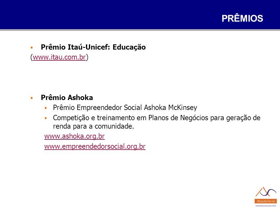 PRÊMIOS Prêmio Itaú-Unicef: Educação (www.itau.com.br)www.itau.com.br Prêmio Ashoka Prêmio Empreendedor Social Ashoka McKinsey Competição e treinament