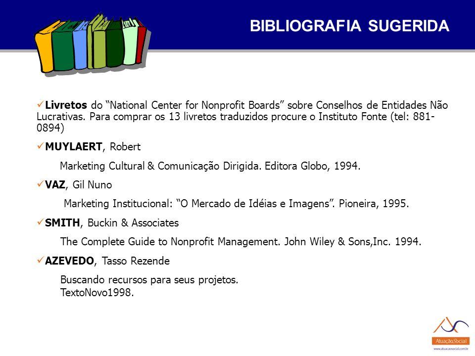 BIBLIOGRAFIA SUGERIDA Livretos do National Center for Nonprofit Boards sobre Conselhos de Entidades Não Lucrativas. Para comprar os 13 livretos traduz