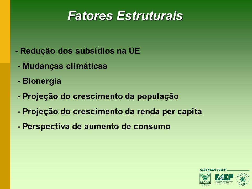 Fatores Estruturais - Redução dos subsídios na UE - Mudanças climáticas - Bionergia - Projeção do crescimento da população - Projeção do crescimento d