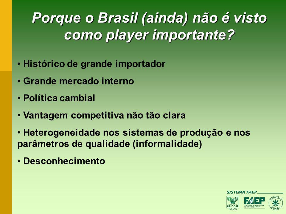 Porque o Brasil (ainda) não é visto como player importante? Histórico de grande importador Grande mercado interno Política cambial Vantagem competitiv