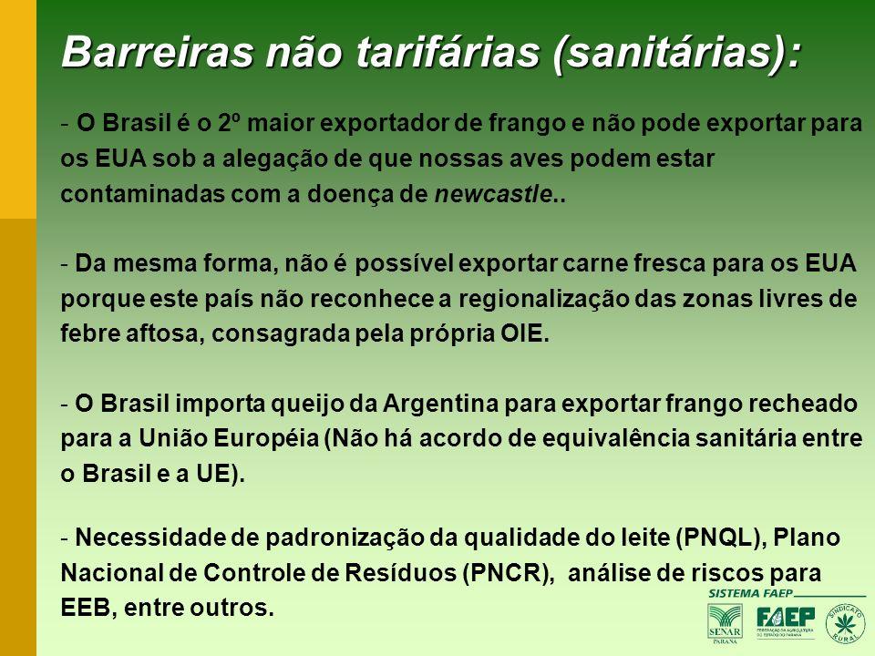 Barreiras não tarifárias (sanitárias): - O Brasil é o 2º maior exportador de frango e não pode exportar para os EUA sob a alegação de que nossas aves