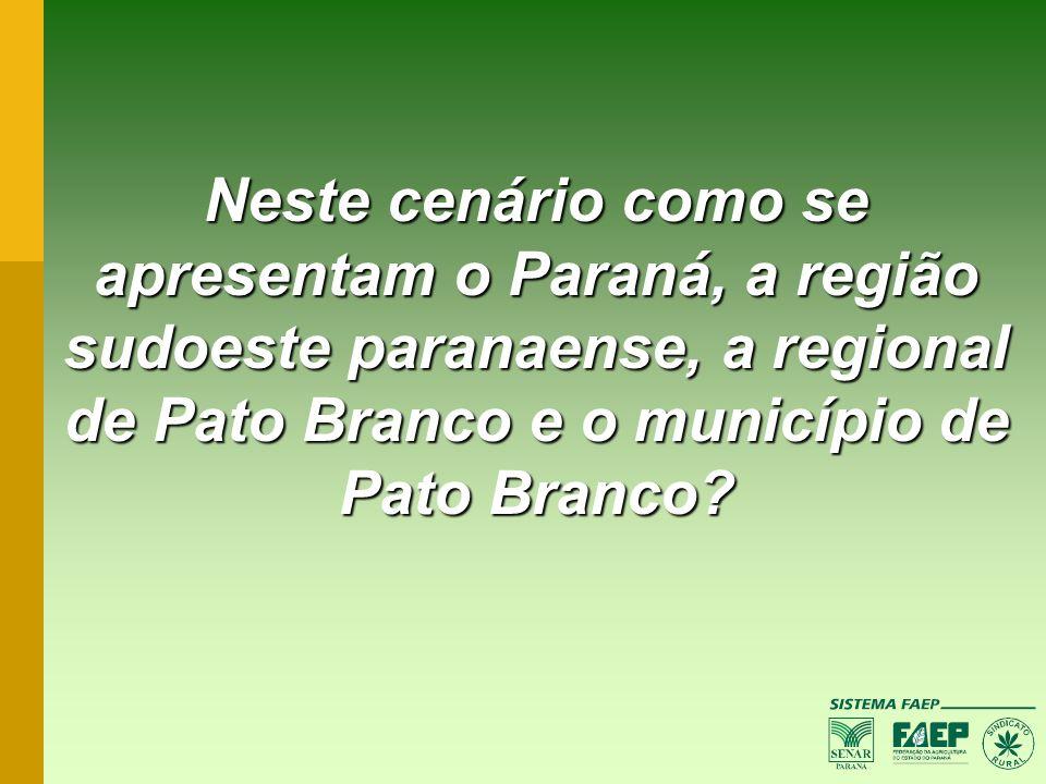 Neste cenário como se apresentam o Paraná, a região sudoeste paranaense, a regional de Pato Branco e o município de Pato Branco?