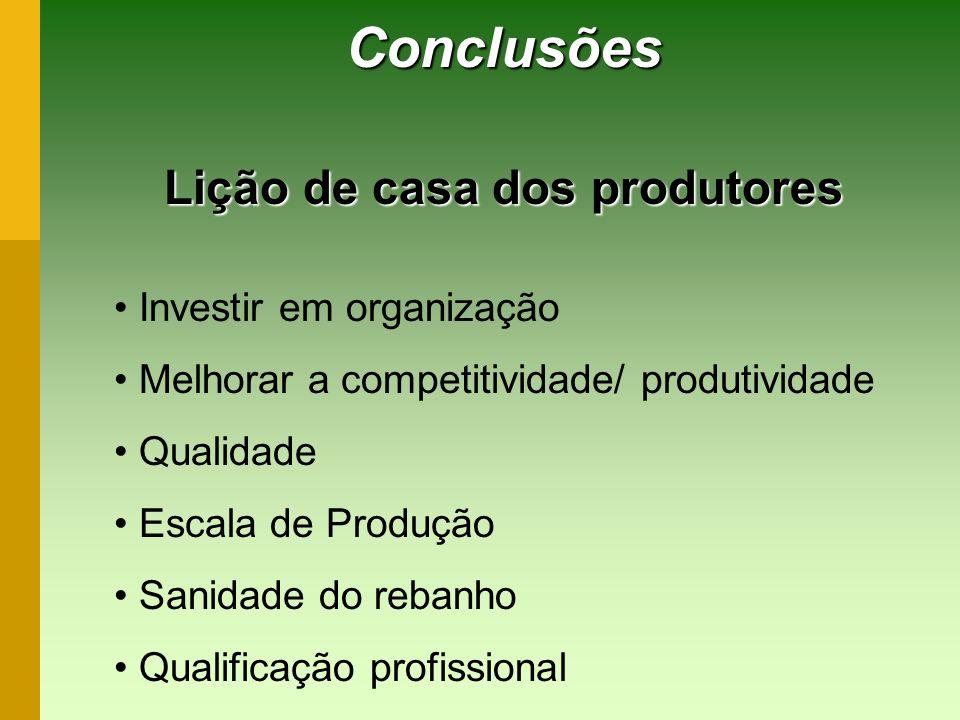 Conclusões Lição de casa dos produtores Investir em organização Melhorar a competitividade/ produtividade Qualidade Escala de Produção Sanidade do reb
