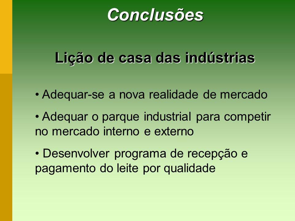 Conclusões Lição de casa das indústrias Adequar-se a nova realidade de mercado Adequar o parque industrial para competir no mercado interno e externo
