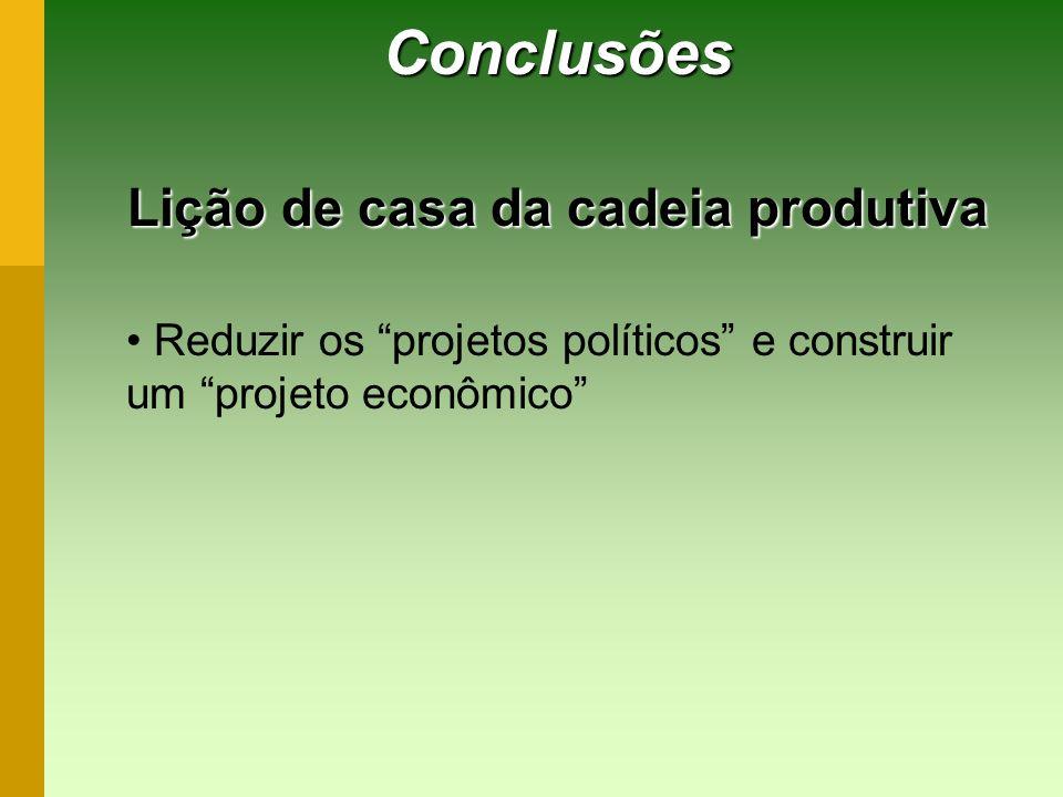 Conclusões Lição de casa da cadeia produtiva Reduzir os projetos políticos e construir um projeto econômico