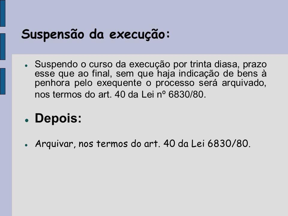 Suspensão da execução: Suspendo o curso da execução por trinta diasa, prazo esse que ao final, sem que haja indicação de bens à penhora pelo exequente o processo será arquivado, nos termos do art.