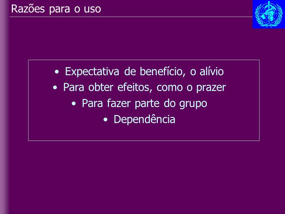 Razões para o uso Expectativa de benefício, o alívio Para obter efeitos, como o prazer Para fazer parte do grupo Dependência