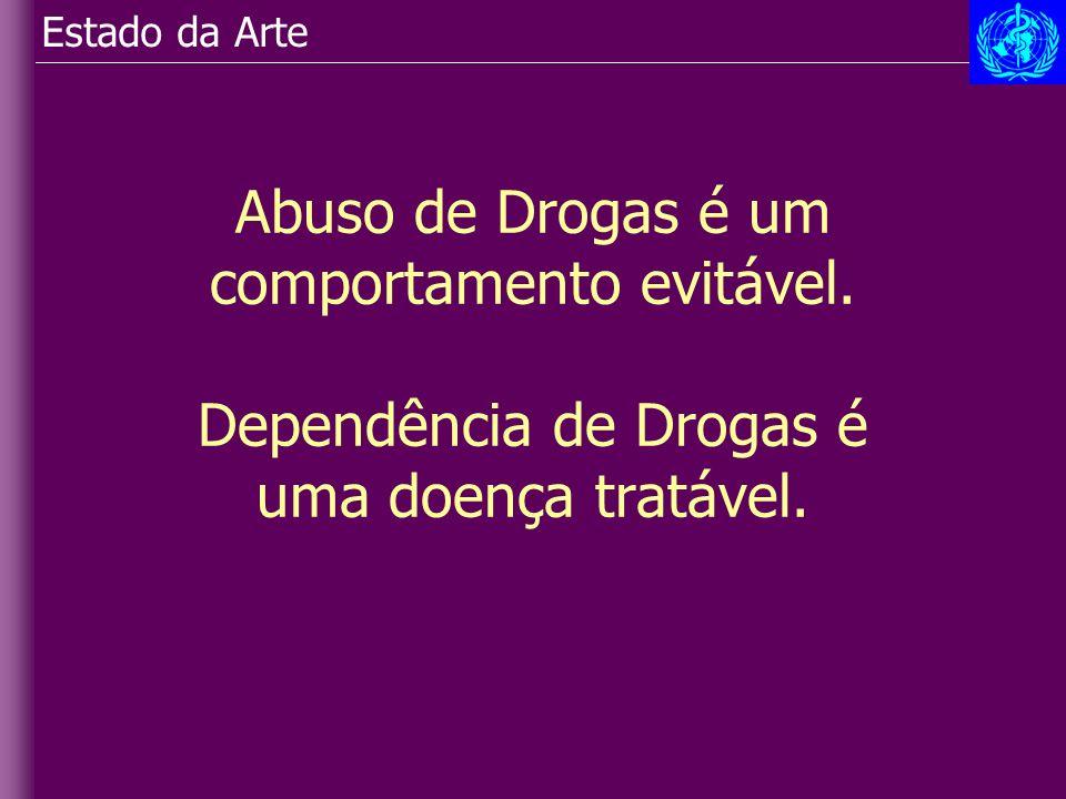 Abuso de Drogas é um comportamento evitável. Dependência de Drogas é uma doença tratável. Estado da Arte