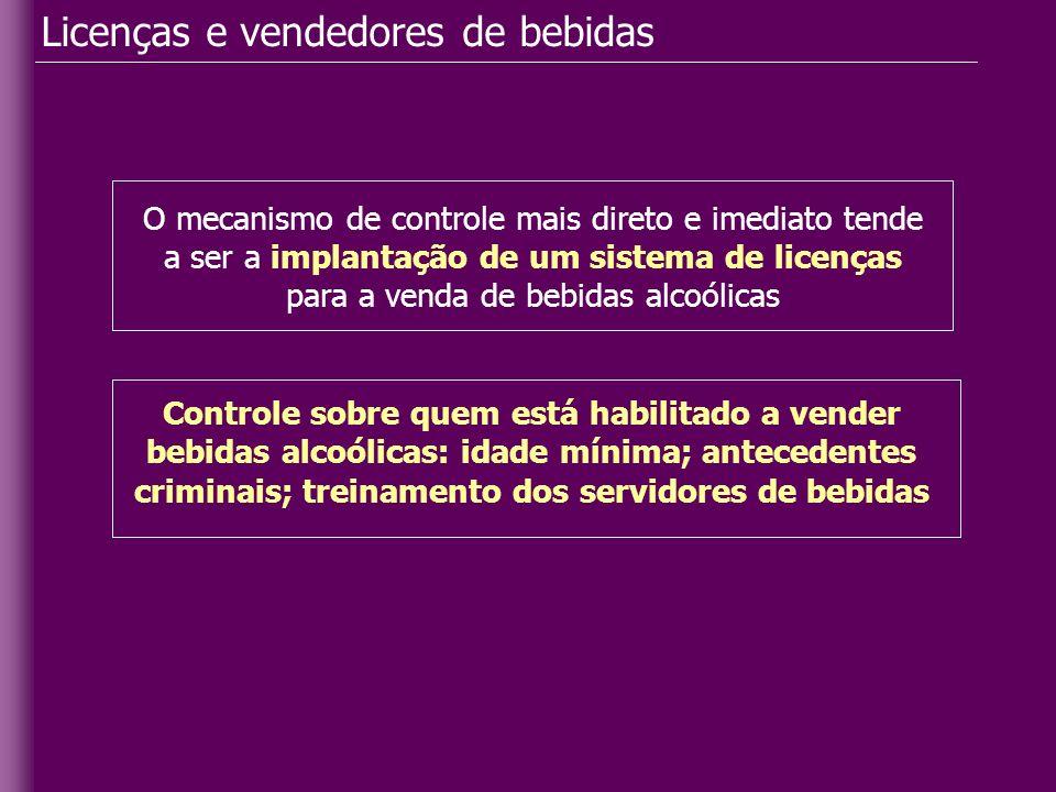 Licenças e vendedores de bebidas O mecanismo de controle mais direto e imediato tende a ser a implantação de um sistema de licenças para a venda de be