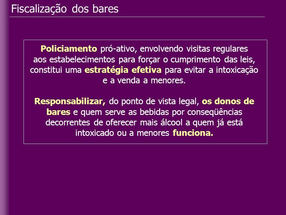 Fiscalização dos bares Policiamento pró-ativo, envolvendo visitas regulares aos estabelecimentos para forçar o cumprimento das leis, constitui uma est