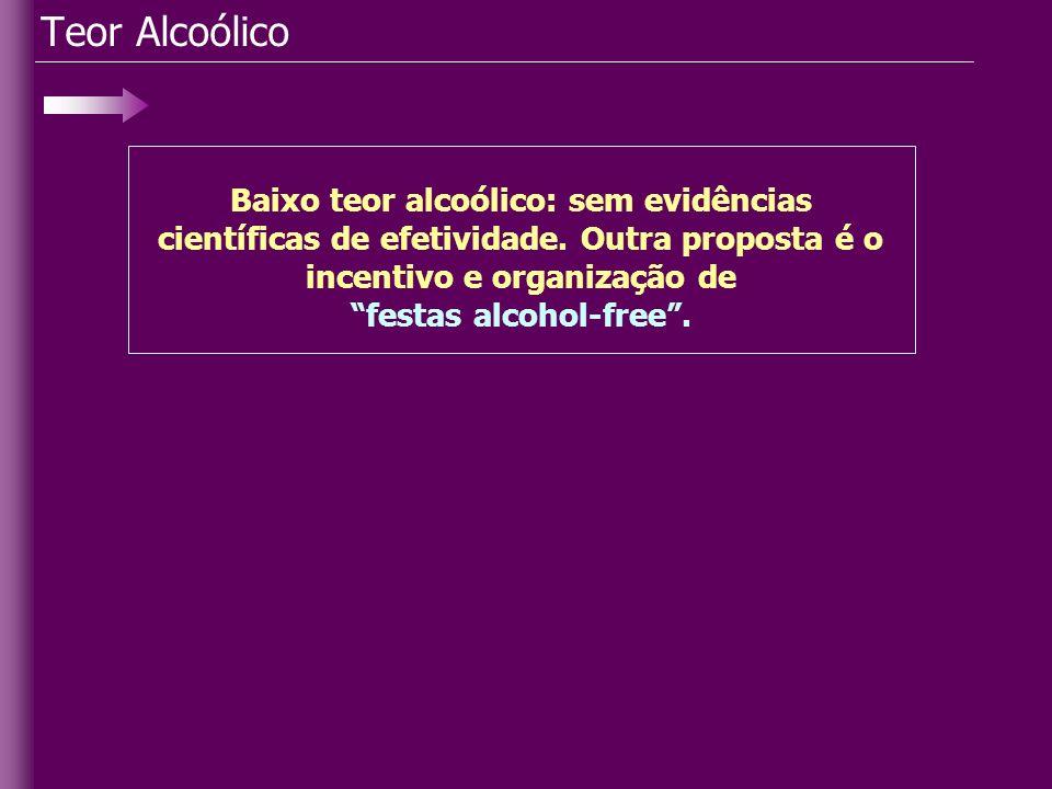 Teor Alcoólico Baixo teor alcoólico: sem evidências científicas de efetividade. Outra proposta é o incentivo e organização de festas alcohol-free.