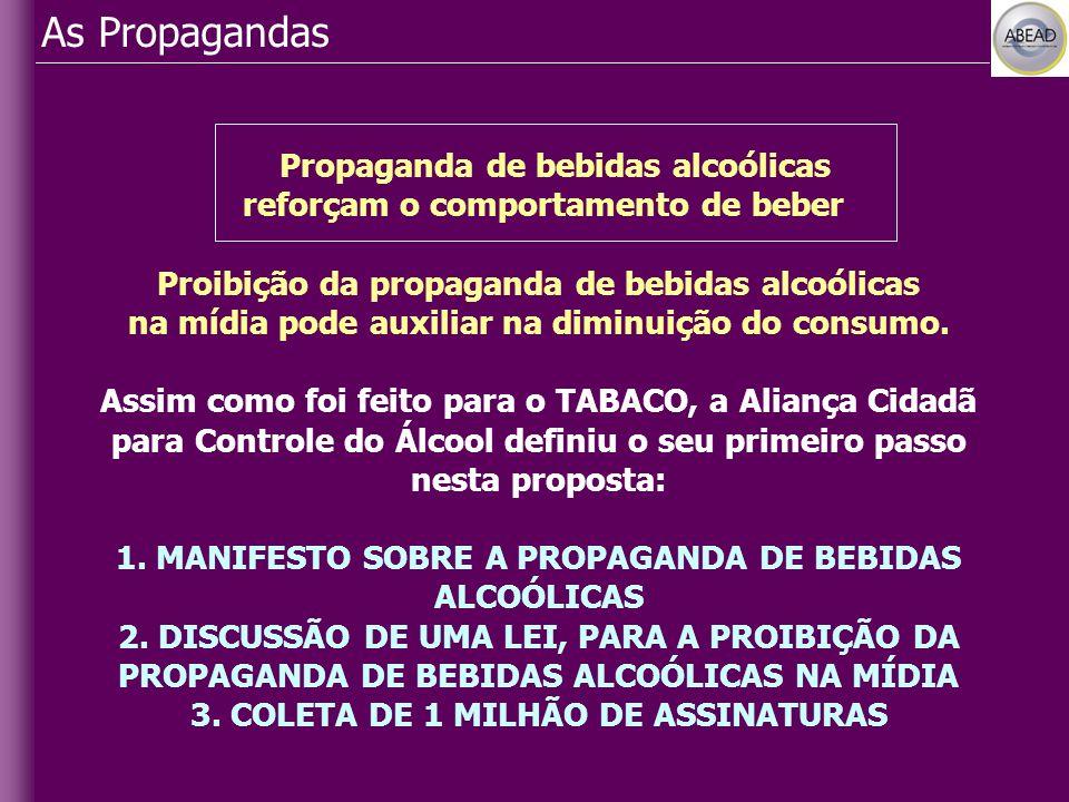 As Propagandas Propaganda de bebidas alcoólicas reforçam o comportamento de beber Proibição da propaganda de bebidas alcoólicas na mídia pode auxiliar