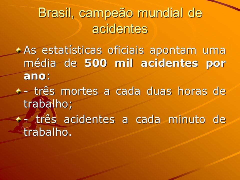Brasil, campeão mundial de acidentes As estatísticas oficiais apontam uma média de 500 mil acidentes por ano: - três mortes a cada duas horas de traba