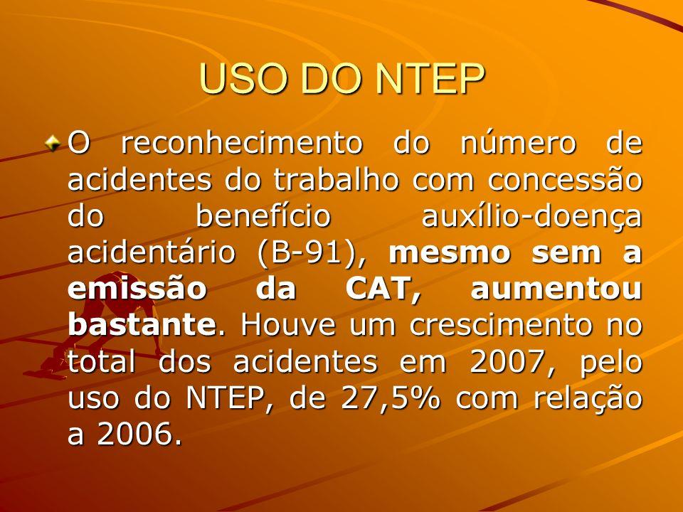 USO DO NTEP O reconhecimento do número de acidentes do trabalho com concessão do benefício auxílio-doença acidentário (B-91), mesmo sem a emissão da C