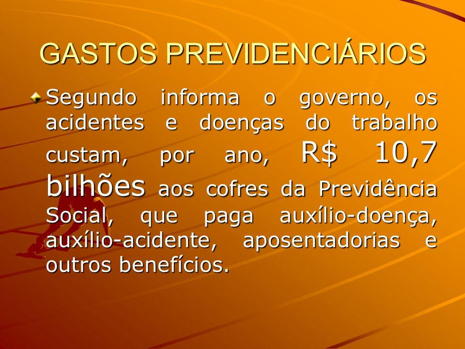 GASTOS PREVIDENCIÁRIOS Segundo informa o governo, os acidentes e doenças do trabalho custam, por ano, R$ 10,7 bilhões aos cofres da Previdência Social