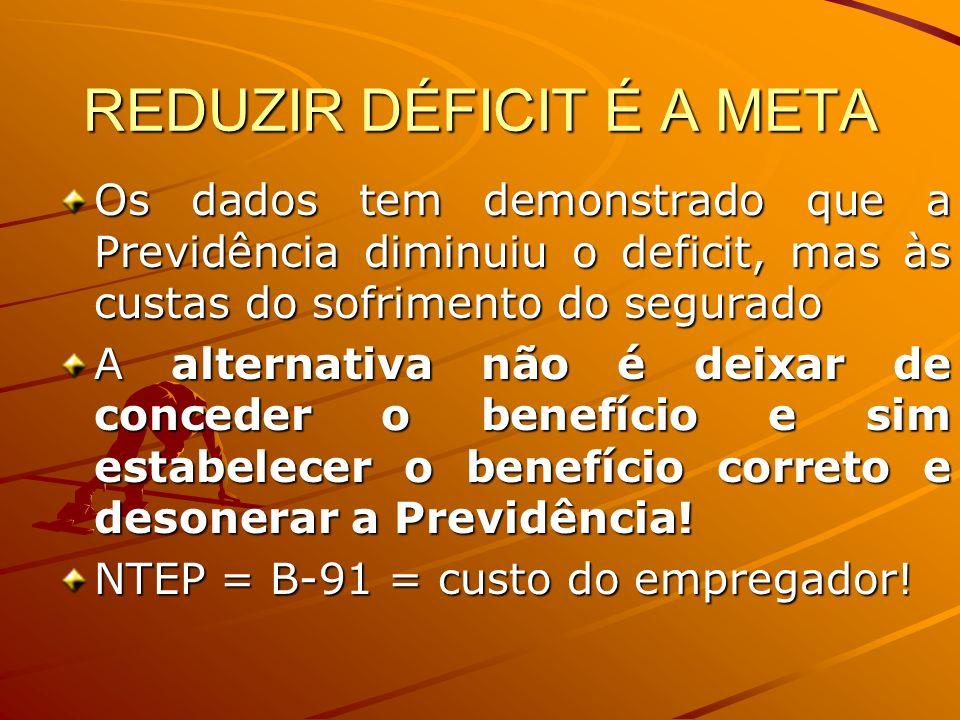 REDUZIR DÉFICIT É A META Os dados tem demonstrado que a Previdência diminuiu o deficit, mas às custas do sofrimento do segurado A alternativa não é de