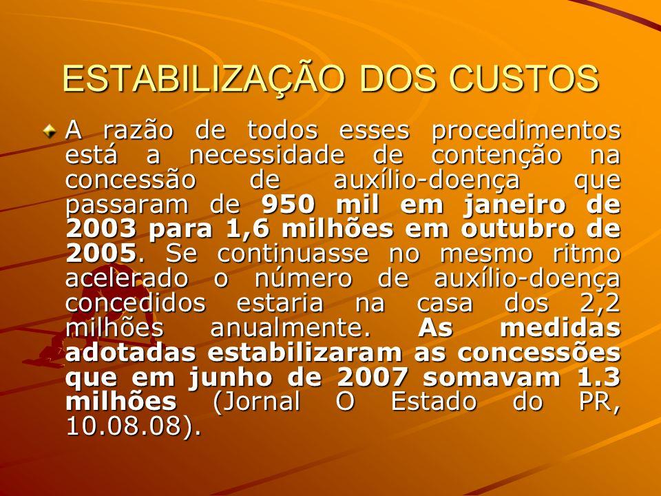 ESTABILIZAÇÃO DOS CUSTOS A razão de todos esses procedimentos está a necessidade de contenção na concessão de auxílio-doença que passaram de 950 mil e