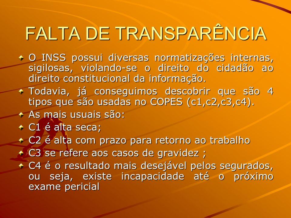 FALTA DE TRANSPARÊNCIA O INSS possui diversas normatizações internas, sigilosas, violando-se o direito do cidadão ao direito constitucional da informa