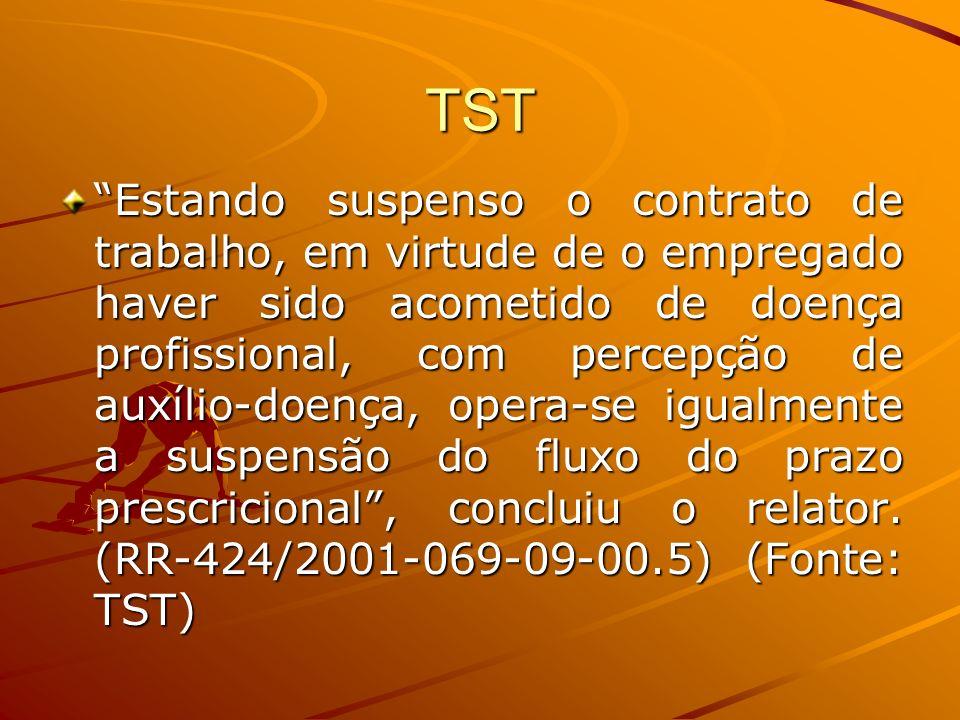 TST Estando suspenso o contrato de trabalho, em virtude de o empregado haver sido acometido de doença profissional, com percepção de auxílio-doença, o