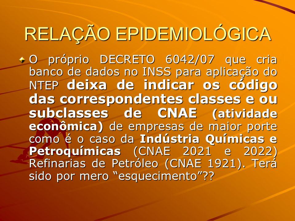 RELAÇÃO EPIDEMIOLÓGICA O próprio DECRETO 6042/07 que cria banco de dados no INSS para aplicação do NTEP deixa de indicar os código das correspondentes