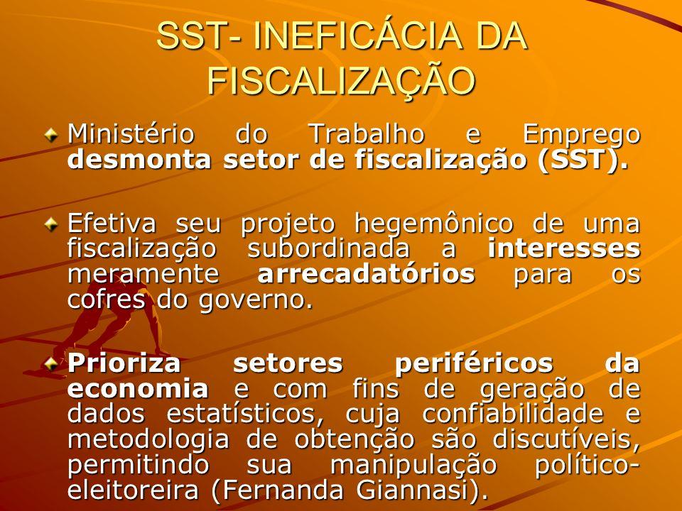 SST- INEFICÁCIA DA FISCALIZAÇÃO Ministério do Trabalho e Emprego desmonta setor de fiscalização (SST). Efetiva seu projeto hegemônico de uma fiscaliza