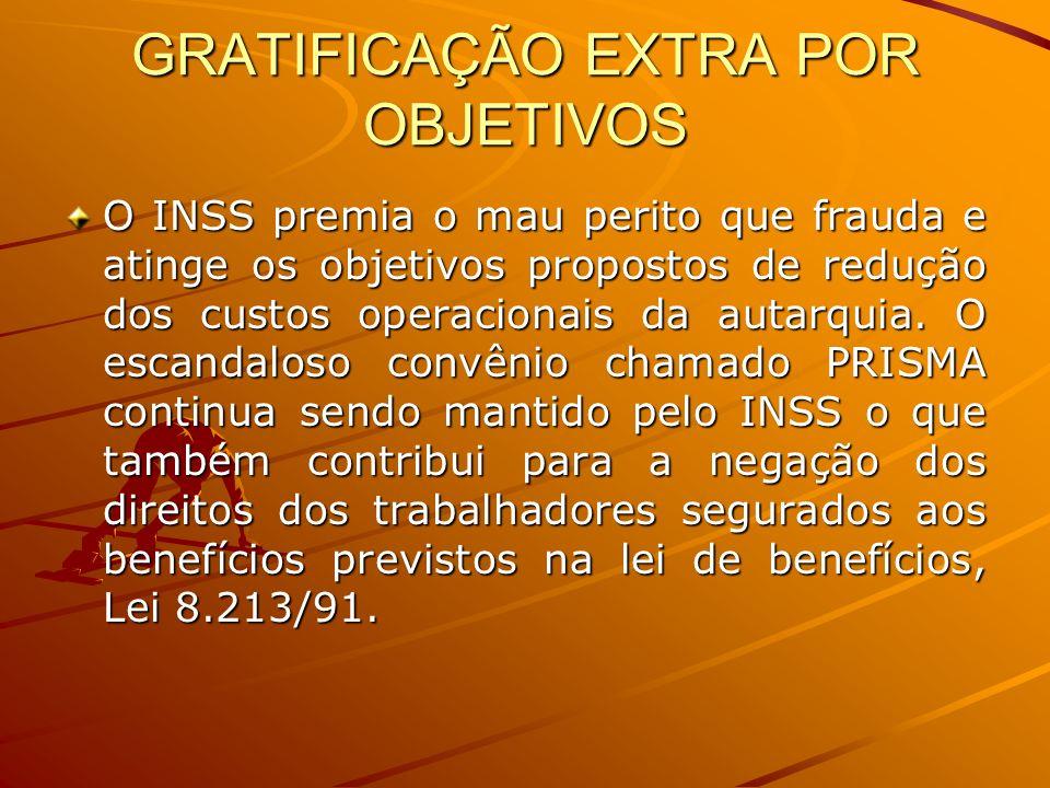 GRATIFICAÇÃO EXTRA POR OBJETIVOS O INSS premia o mau perito que frauda e atinge os objetivos propostos de redução dos custos operacionais da autarquia