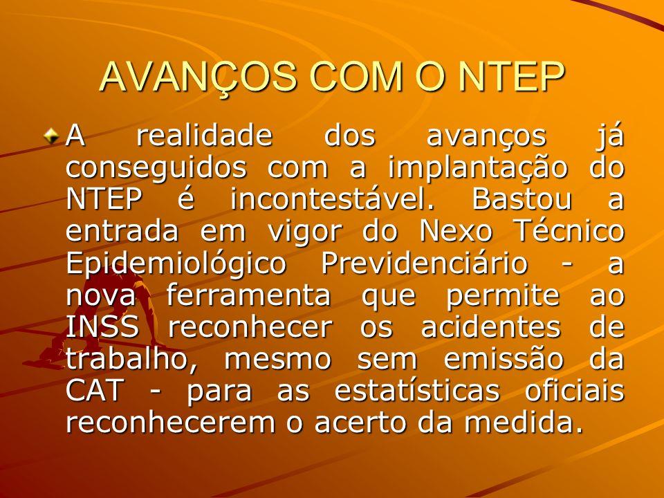 AVANÇOS COM O NTEP A realidade dos avanços já conseguidos com a implantação do NTEP é incontestável. Bastou a entrada em vigor do Nexo Técnico Epidemi