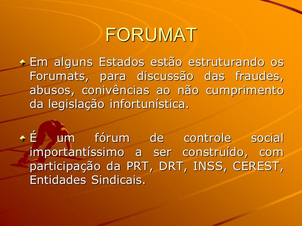 FORUMAT Em alguns Estados estão estruturando os Forumats, para discussão das fraudes, abusos, conivências ao não cumprimento da legislação infortuníst