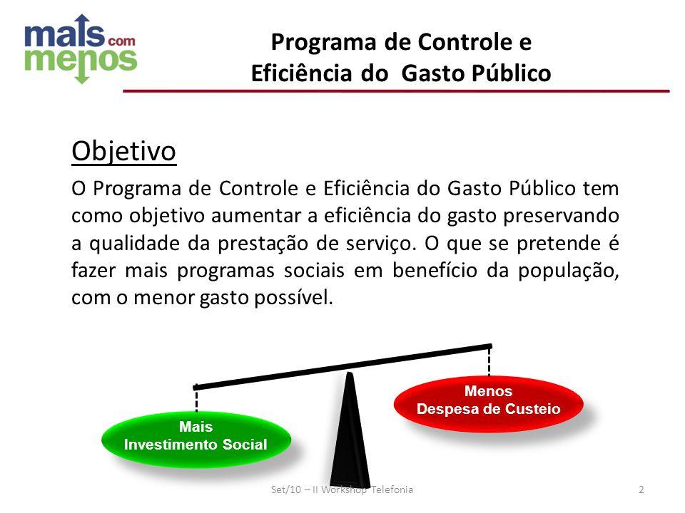 Objetivo O Programa de Controle e Eficiência do Gasto Público tem como objetivo aumentar a eficiência do gasto preservando a qualidade da prestação de