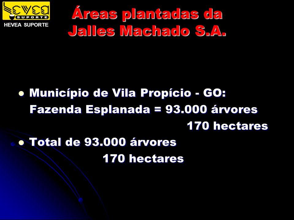 Áreas plantadas da Jalles Machado S.A. Município de Vila Propício - GO: Município de Vila Propício - GO: Fazenda Esplanada = 93.000 árvores Fazenda Es