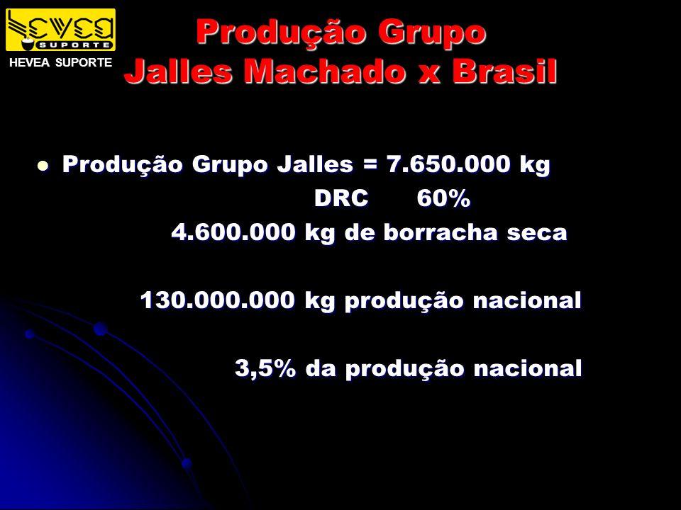Produção Grupo Jalles Machado x Brasil Produção Grupo Jalles = 7.650.000 kg Produção Grupo Jalles = 7.650.000 kg DRC 60% DRC 60% 4.600.000 kg de borra