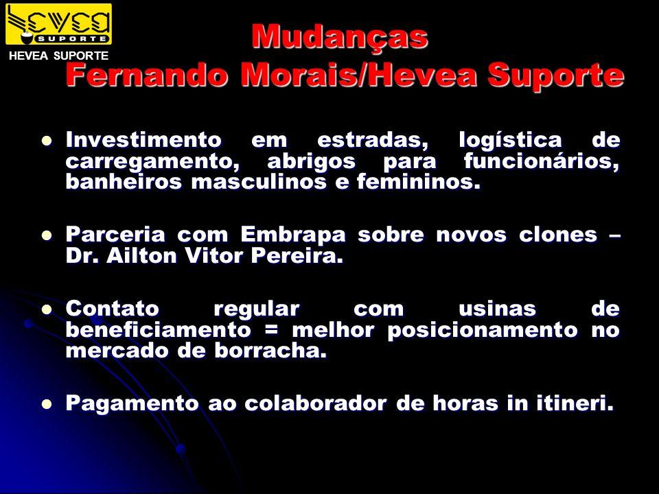 Mudanças Fernando Morais/Hevea Suporte Investimento em estradas, logística de carregamento, abrigos para funcionários, banheiros masculinos e feminino