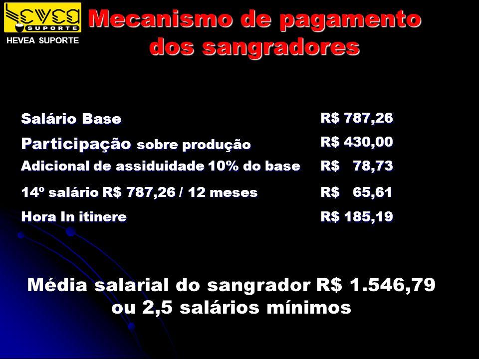 Mecanismo de pagamento dos sangradores Salário Base R$ 787,26 Participação sobre produção R$ 430,00 Adicional de assiduidade 10% do base R$ 78,73 14º