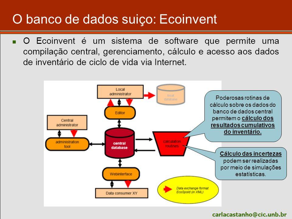 carlacastanho@cic.unb.br O banco de dados suiço: Ecoinvent O Ecoinvent é um sistema de software que permite uma compilação central, gerenciamento, cál