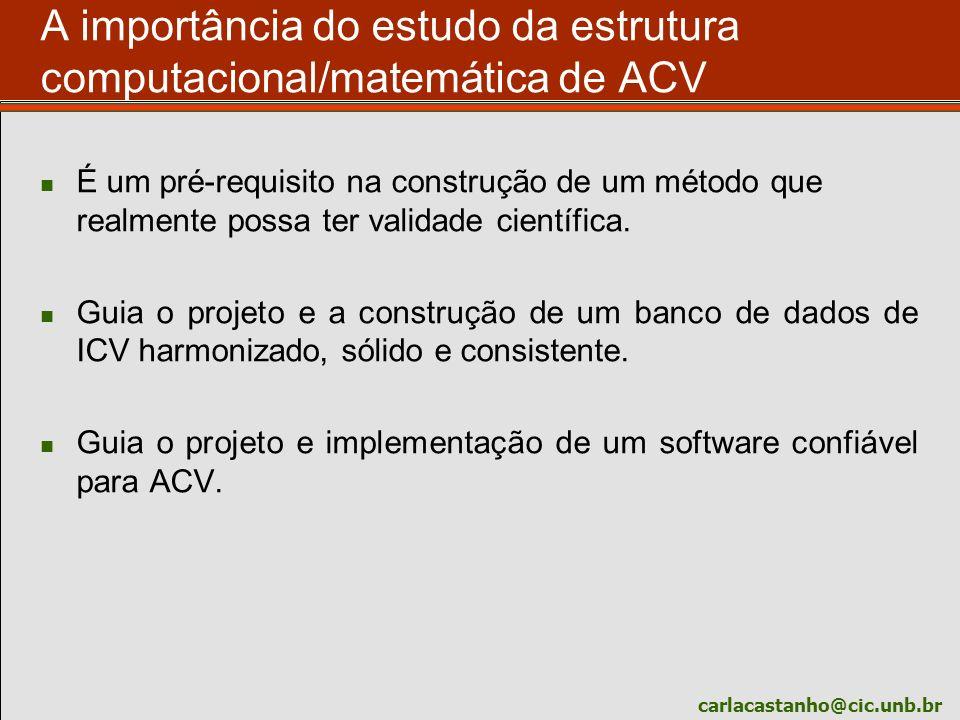 carlacastanho@cic.unb.br A importância do estudo da estrutura computacional/matemática de ACV É um pré-requisito na construção de um método que realme