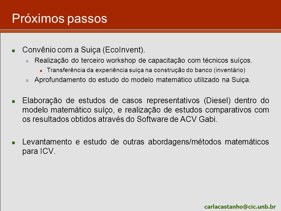 carlacastanho@cic.unb.br Próximos passos Convênio com a Suiça (EcoInvent). Realização do terceiro workshop de capacitação com técnicos suíços. Transfe
