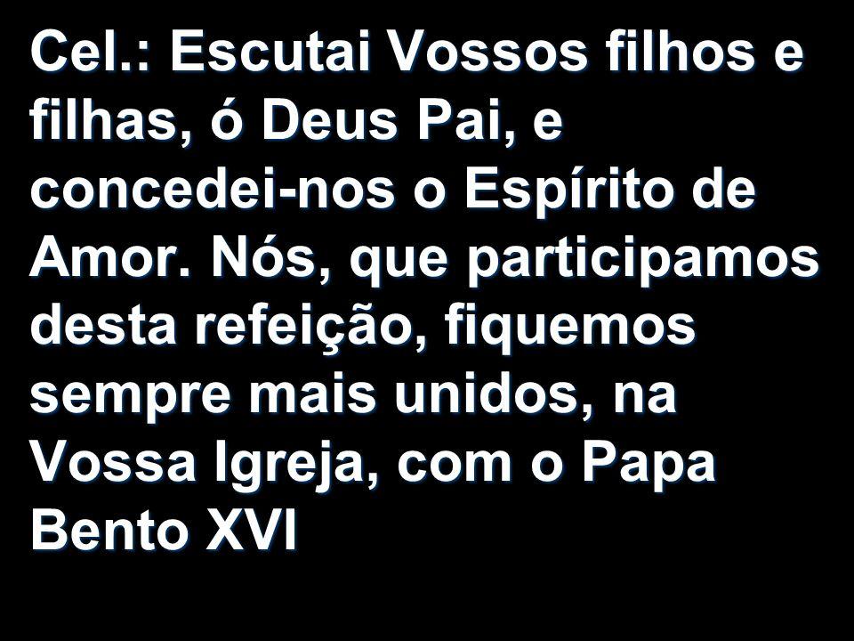 Cel.: Escutai Vossos filhos e filhas, ó Deus Pai, e concedei-nos o Espírito de Amor. Nós, que participamos desta refeição, fiquemos sempre mais unidos