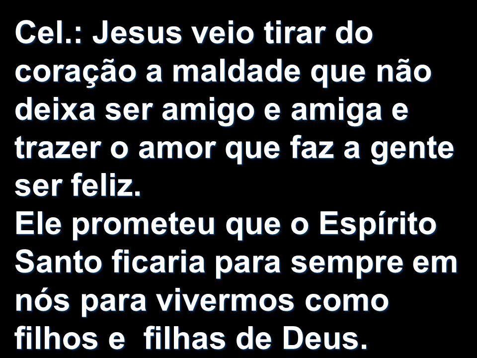 Cel.: Jesus veio tirar do coração a maldade que não deixa ser amigo e amiga e trazer o amor que faz a gente ser feliz. Ele prometeu que o Espírito San