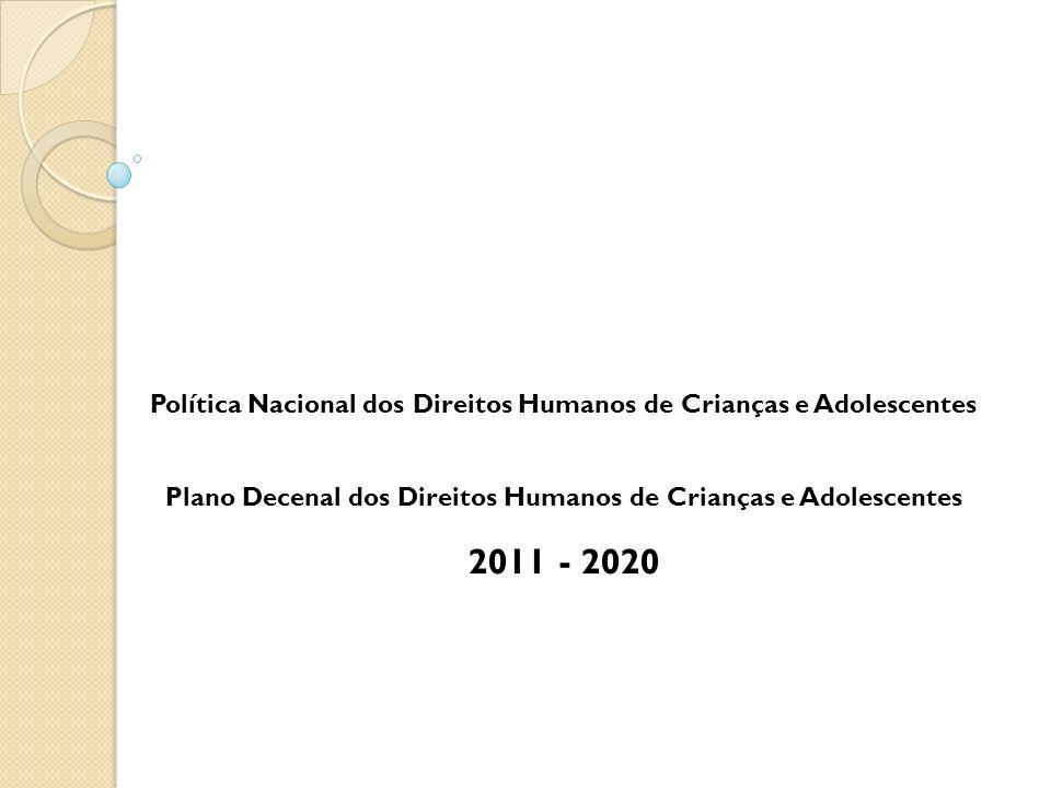 Política Nacional dos Direitos Humanos de Crianças e Adolescentes Plano Decenal dos Direitos Humanos de Crianças e Adolescentes 2011 - 2020