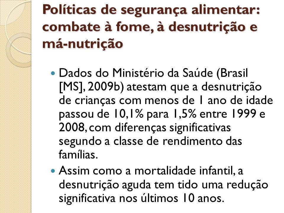 Políticas de segurança alimentar: combate à fome, à desnutrição e má-nutrição Dados do Ministério da Saúde (Brasil [MS], 2009b) atestam que a desnutri