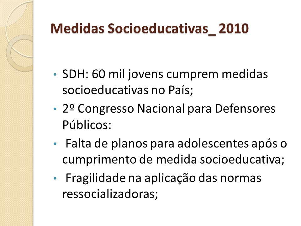 Medidas Socioeducativas_ 2010 SDH: 60 mil jovens cumprem medidas socioeducativas no País; 2º Congresso Nacional para Defensores Públicos: Falta de pla