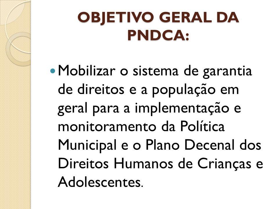 OBJETIVO GERAL DA PNDCA: Mobilizar o sistema de garantia de direitos e a população em geral para a implementação e monitoramento da Política Municipal