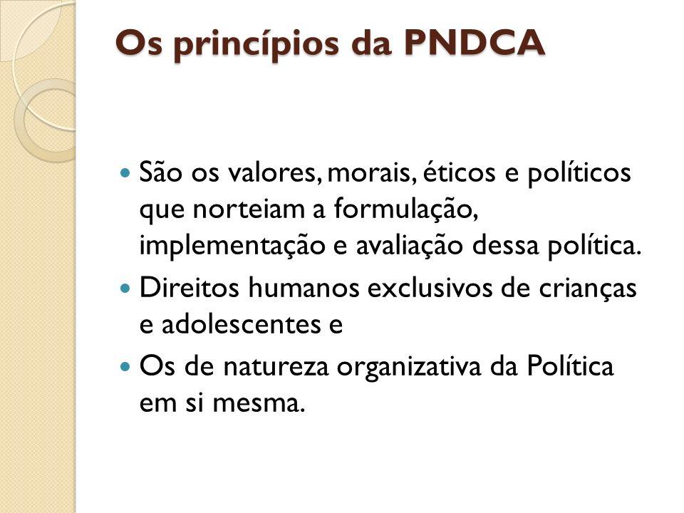 Os princípios da PNDCA São os valores, morais, éticos e políticos que norteiam a formulação, implementação e avaliação dessa política. Direitos humano