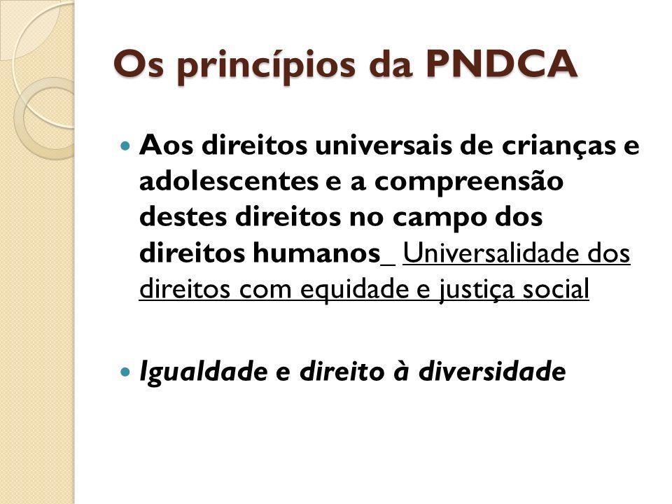 Os princípios da PNDCA Aos direitos universais de crianças e adolescentes e a compreensão destes direitos no campo dos direitos humanos_ Universalidad